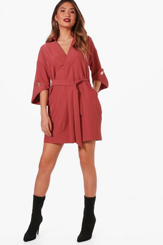 Kimono Sleeve Belted Shirt Dress