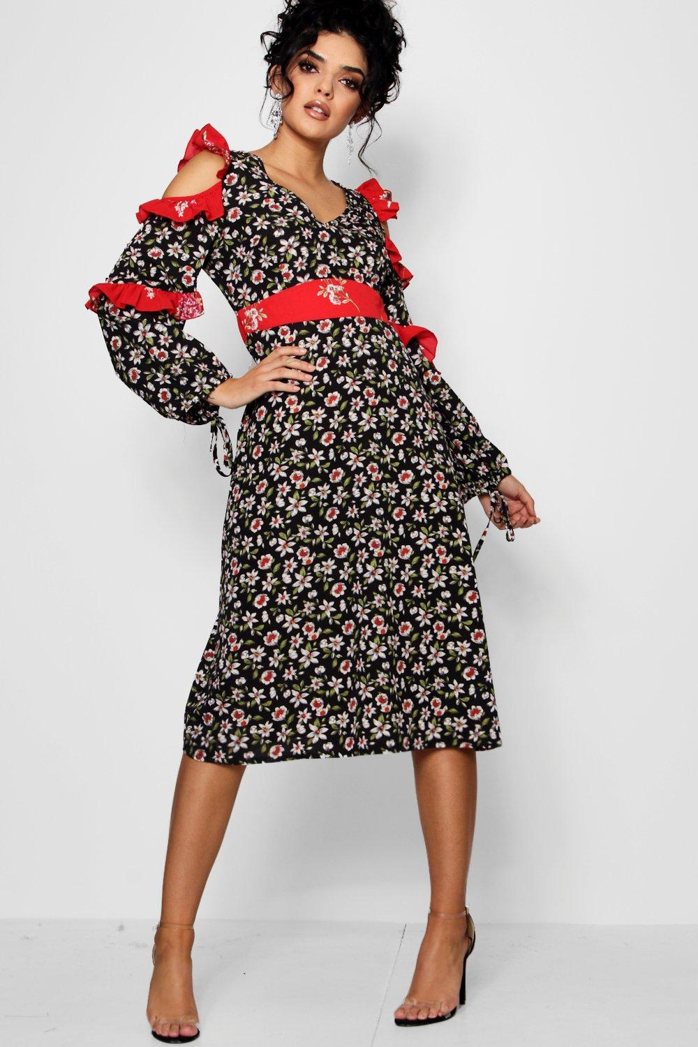 Mix Print Ruffle Detail Midi Dress | Boohoo