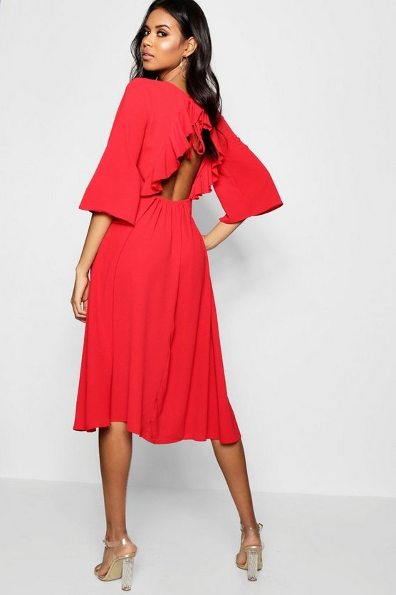 Open Ruffle Back Flute Sleeve Midi Dress