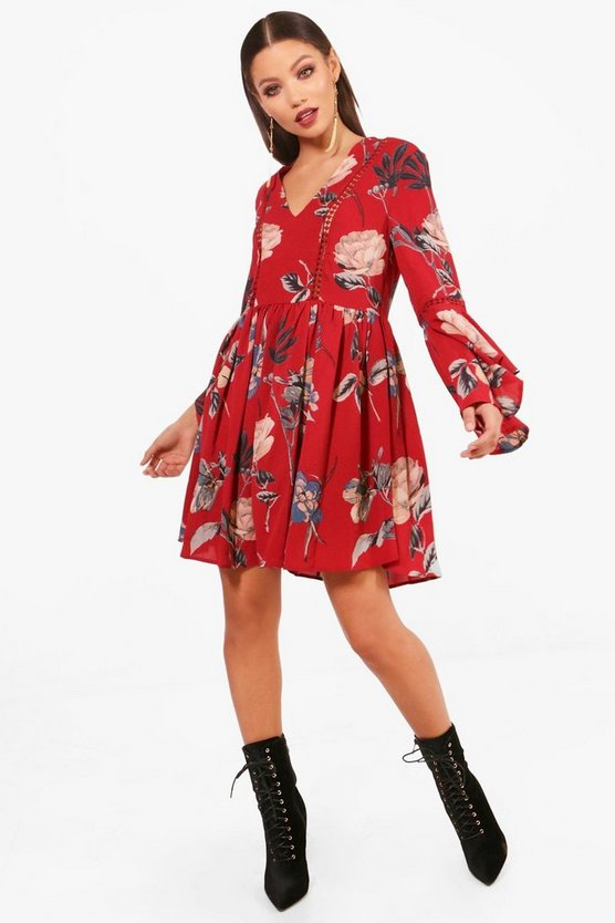 d80f9a68b812 Shoptagr | Ladder Trim Ruffle Sleeve Smock Dress by Boohoo