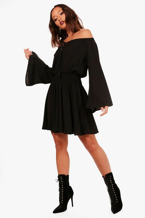Flute Sleeve Shirred Waist Skater Dress