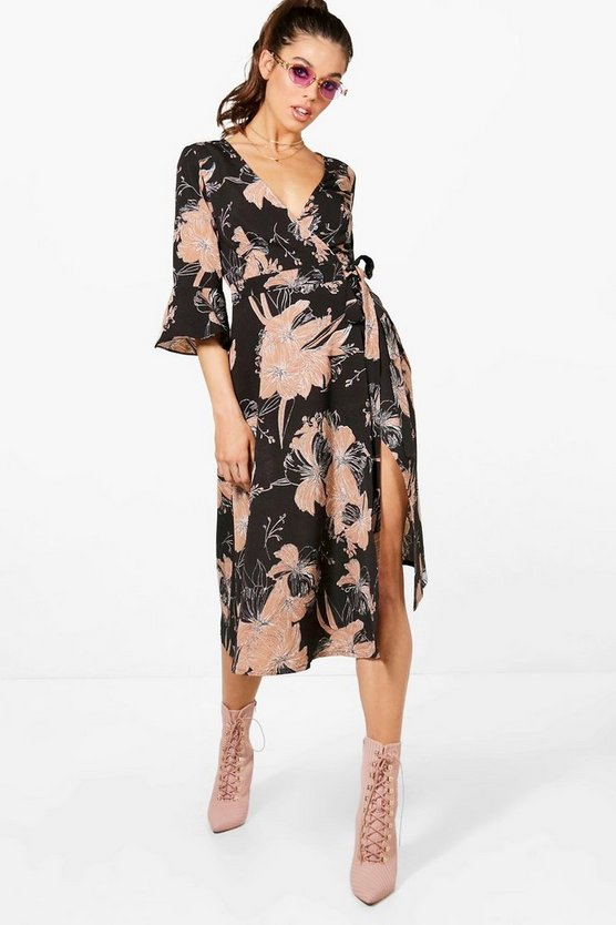 Womens Black Wrap Ruffle Sleeve Floral Midi Dress