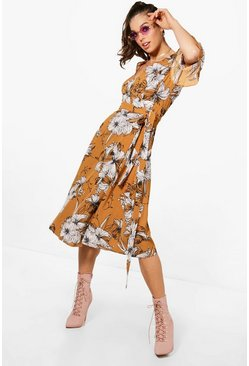 Womens Desert sand Wrap Ruffle Sleeve Floral Midi Dress