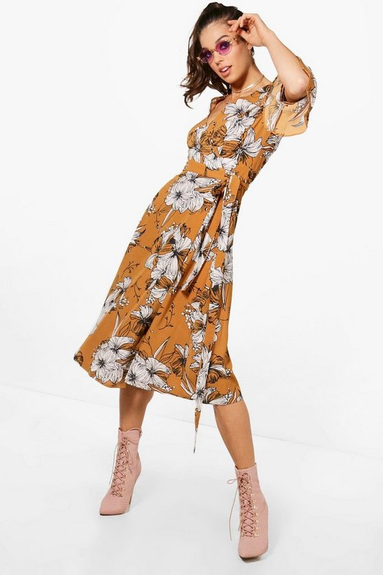 Wrap Ruffle Sleeve Floral Midi Dress
