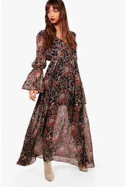 Womens Black Gabriella Bohemian Tie Detail Maxi Dress