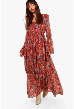 Womens Rust Gabriella Bohemian Tie Detail Maxi Dress