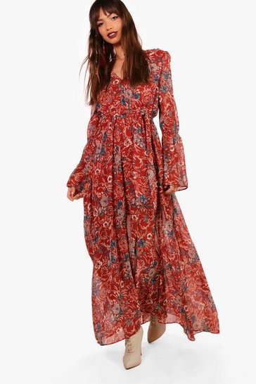 Rust Gabriella Bohemian Tie Detail Maxi Dress
