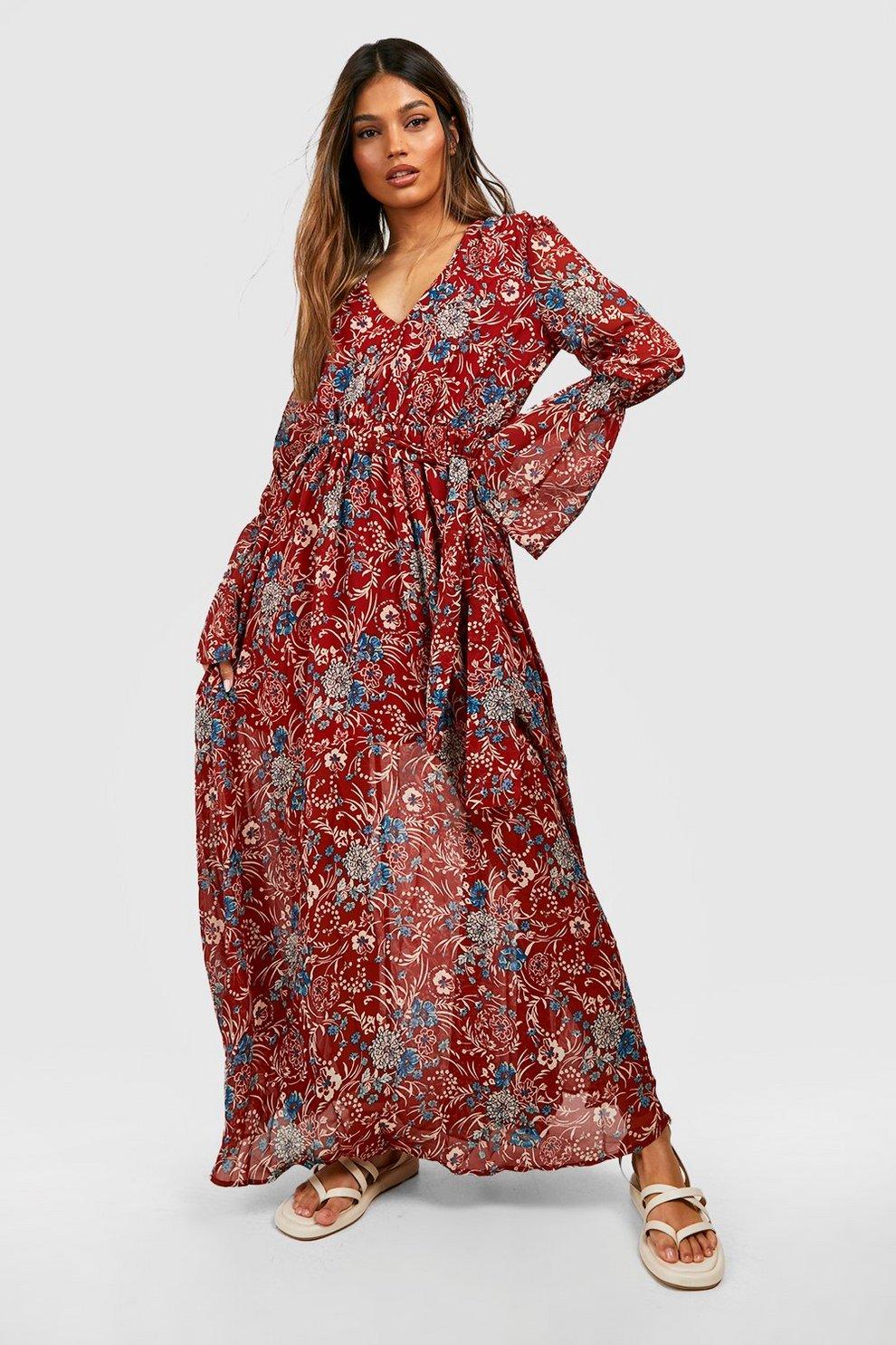 de41ff178dd26 Gabriella Bohemian Tie Detail Maxi Dress