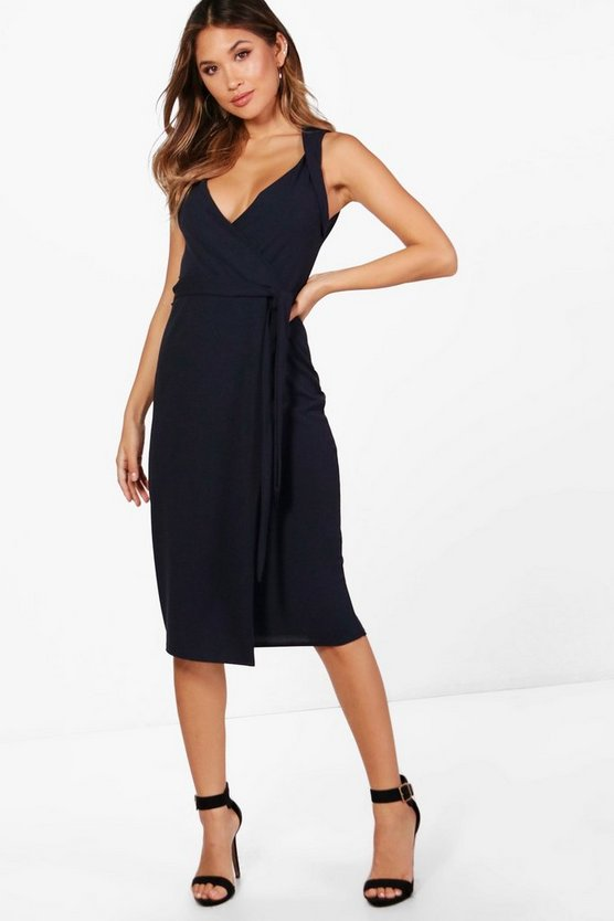 Belted Wrap Detail Midi Dress