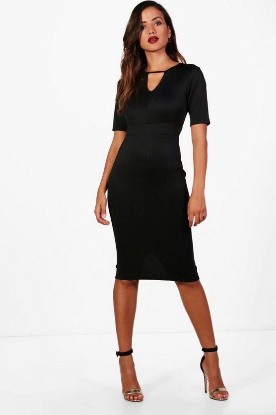Key Hole Short Sleeve Bodycon Dress