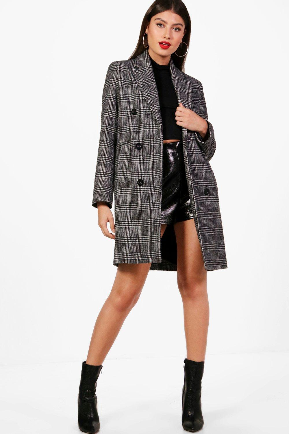 690ffd39f6 Double Breasted Check Coat | Boohoo
