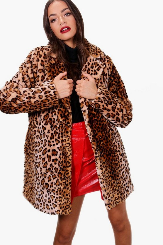 Iris Leopard Faux Fur Coat