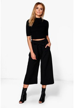 Womens Black Belted Tailored Culotte
