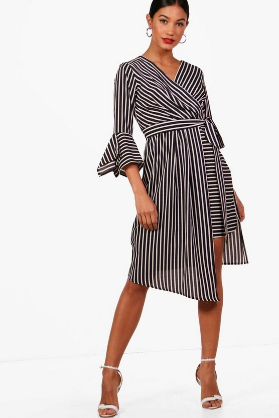 Wrap Front Contrast Stripe Midi Dress