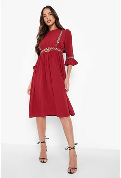 Womens Berry Embroidered Ruffle Sleeve Midi Dress