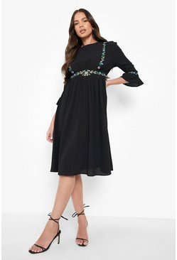 Womens Black Embroidered Ruffle Sleeve Midi Dress