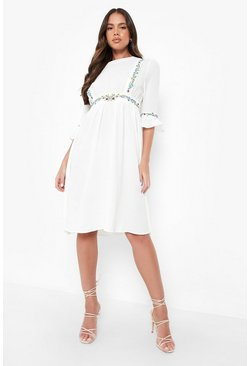 Womens White Embroidered Ruffle Sleeve Midi Dress