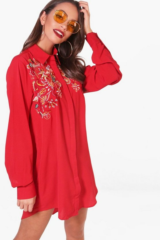 Embroidered Shoulder Woven Shirt Dress