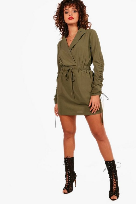 Drawcord Sleeve Woven Shirt Dress