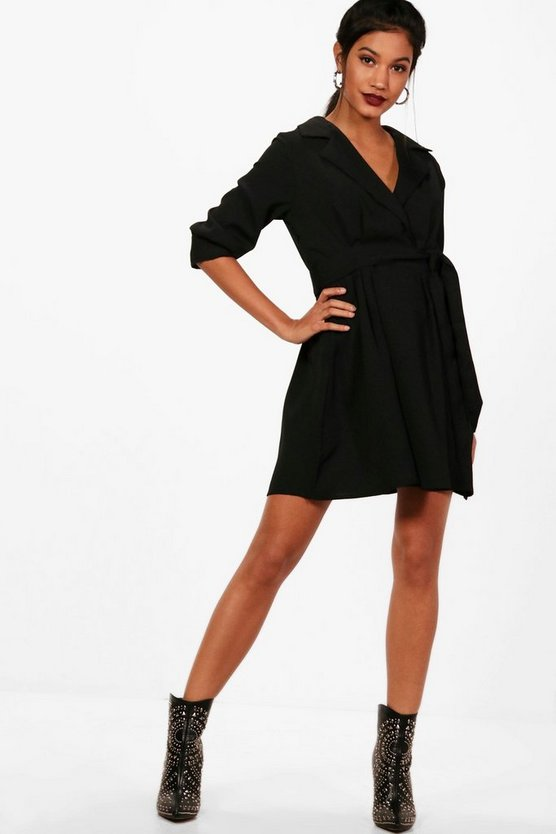 Womens Black Wrap Front Tie Waist Skater Shirt Dress