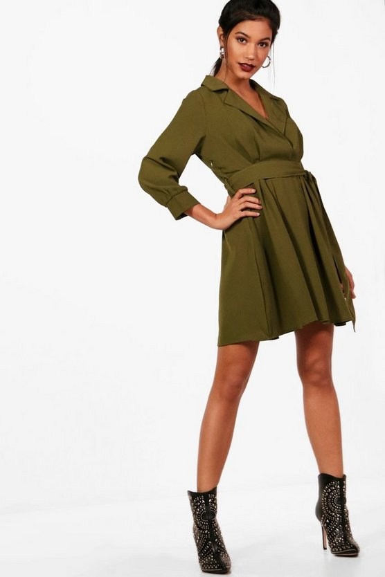 Wrap Front Tie Waist Skater Shirt Dress
