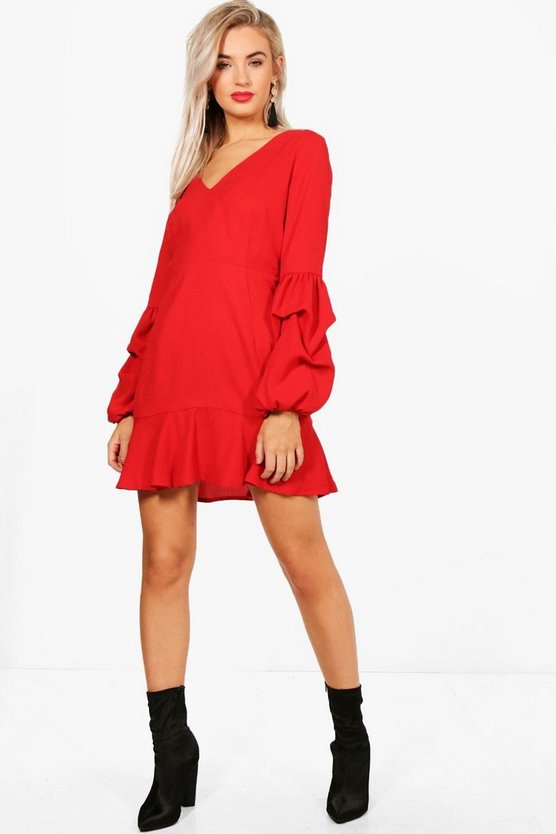 Gathered Sleeve Drop Hem Dress
