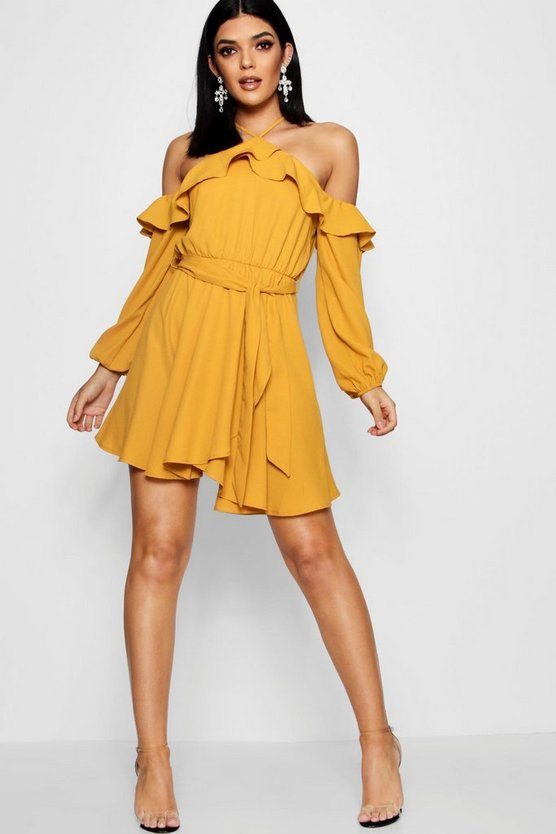 Womens Yellow Wrap Front Ruffle Shoulder Skater Dress