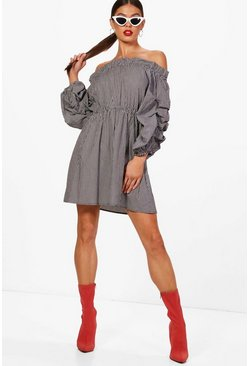 Womens Volume Sleeve Off the Shoulder Dress
