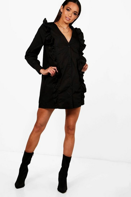 Ruffle Front V Neck Shift Dress