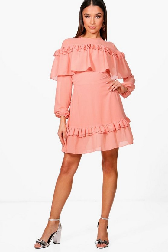 Ruffle Shoulder and Hem Tea Dress