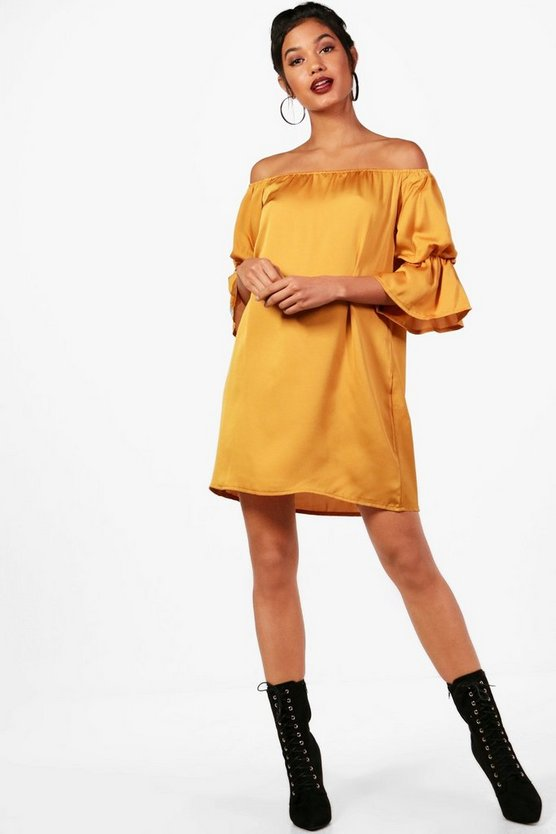Volume Sleeve Luxe Shift Dress