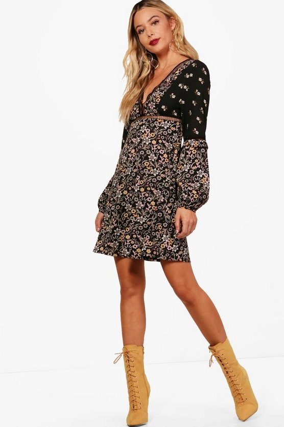 Ladder Trim Mixed Print Skater Dress