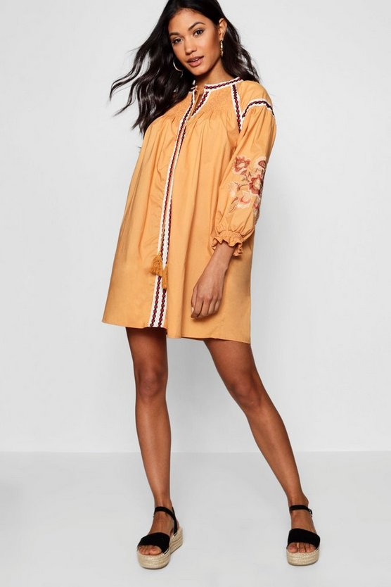 Shirred Shoulder Embroidered Smock Dress