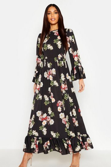 Womens Black Ruffle Hem and Sleeve Maxi Dress