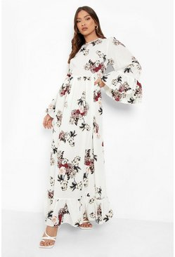 Womens Ivory Ruffle Hem and Sleeve Maxi Dress