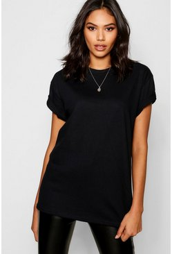 Womens Black Basic Oversized Boyfriend T-shirt