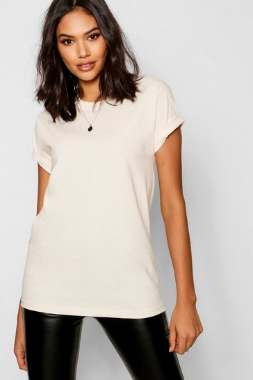 Womens Ecru Basic Oversized Boyfriend T-shirt