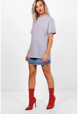 Grey marl Basic Oversized Boyfriend T-shirt