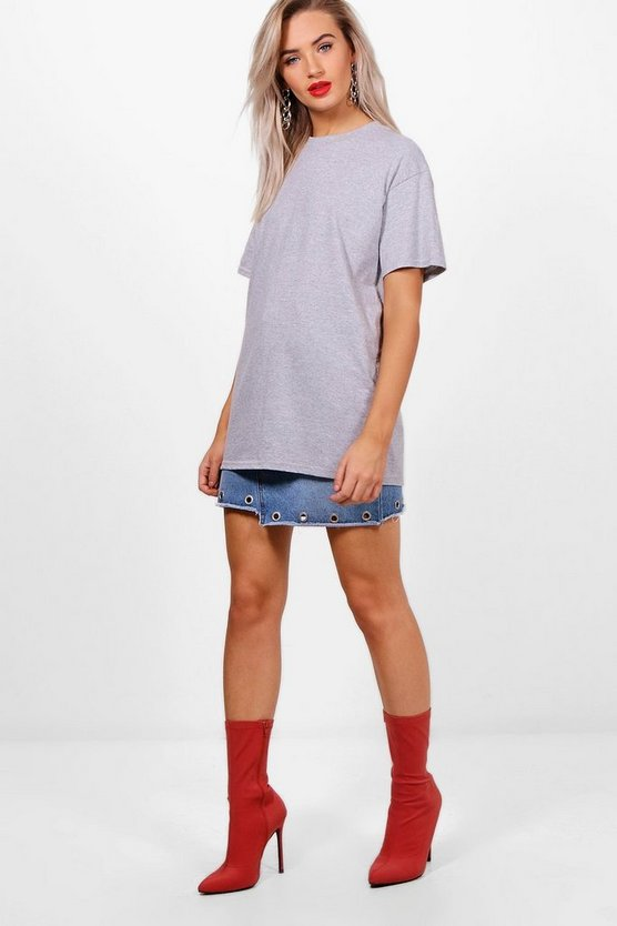 Womens Grey marl Basic Oversized Boyfriend T-shirt