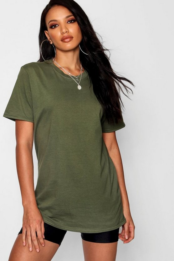 Basic Oversized Boyfriend T-shirt, Khaki, Donna