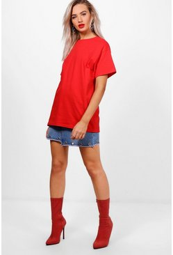 Womens Red Basic Oversized Boyfriend T-shirt