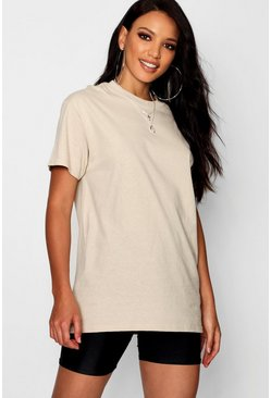 Womens Stone Basic Oversized Boyfriend T-shirt