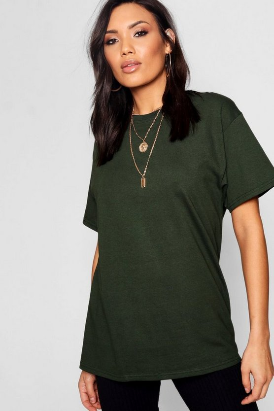 Womens Bottle green Basic Oversized Boyfriend T-shirt