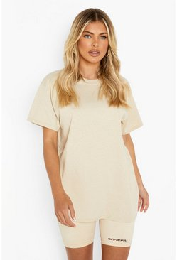 Camel Basic Oversized Boyfriend T-shirt