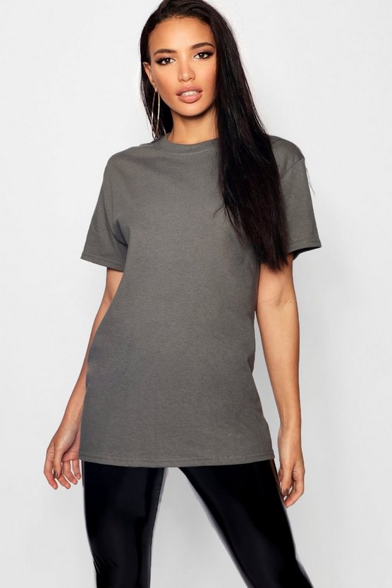 Womens Charcoal Basic Oversized Boyfriend T-shirt