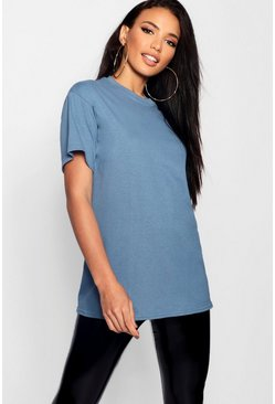 Womens Indigo Basic Oversized Boyfriend T-shirt