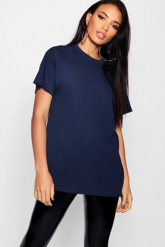 Womens Navy Basic Oversized Boyfriend T-shirt