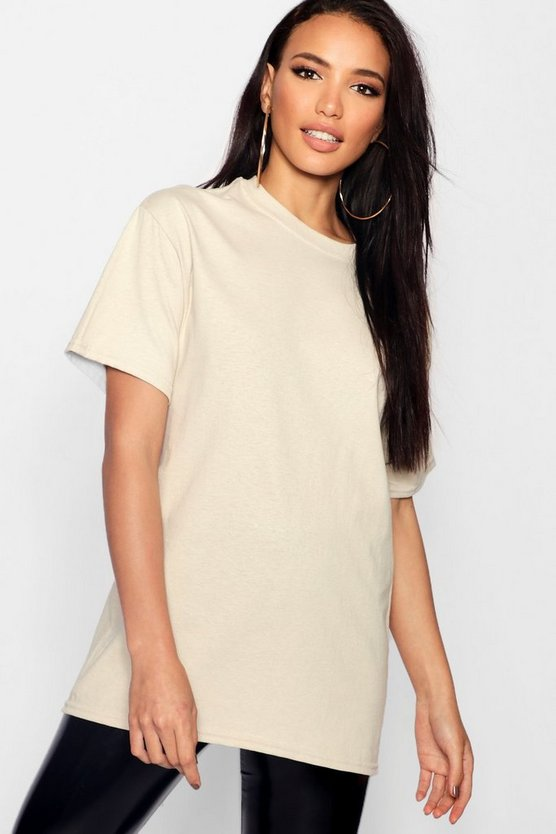 Womens Sand Basic Oversized Boyfriend T-shirt