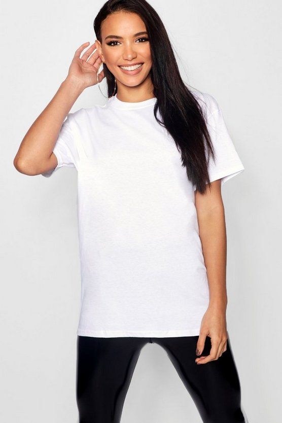 Womens White Basic Oversized Boyfriend T-shirt