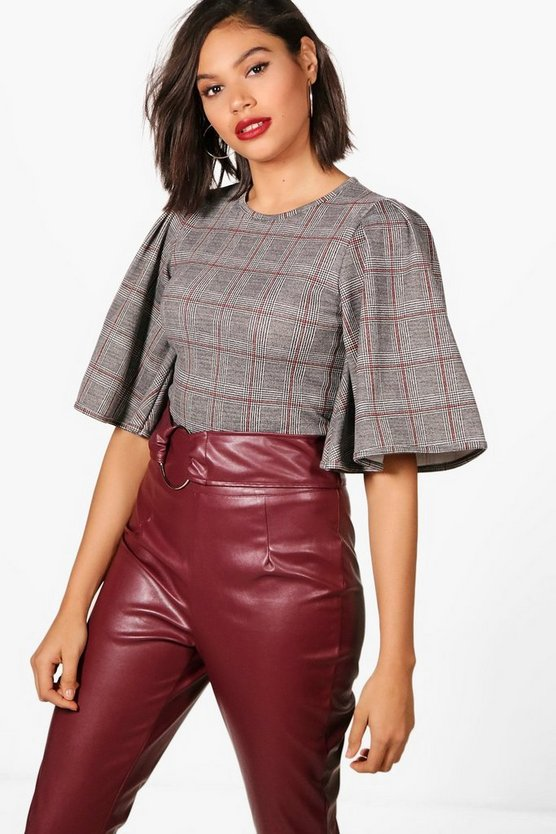 Megan Prince Of Wales Check Wide Sleeve Top